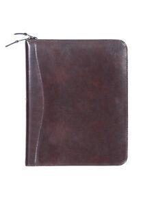 New Scully Leather 8 5 X 11 Monthly Weekly Zippered Planner Agenda Walnut