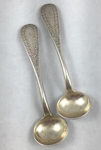 Pair Of Early Decorated Sterling Mustard Condiment Spoons By Shreve Crump