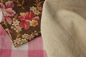 Vintage French Fabrics Antique Material Project Bundle 19th Pink Check Linen