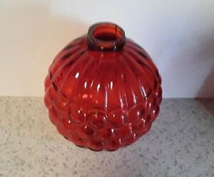 Red Orange Ribbed Grapes Glass Lightning Rod Ball Barn Garden Roof Patio Home