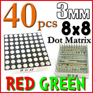 40 Dot Matrix Led 3mm 8x8 Red Green Common Anode 24 Pin 64 Led Displays Module