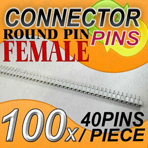 100 Female White 40 Pcb Round Pin Single Row 2 54mm Pitch Spacing Header Strip