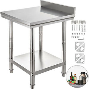 Stainless Steel Work Table Kitchen Utility Work Bench Table 24 x24 W backsplash