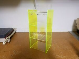 Acrylic Counter Top Display Case Clear Front Fluorescent Green Sides 3 shelf