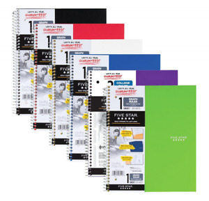 Five Star Spiral Notebooks 1 Subject Graph Ruled Paper 100 Sheets 6 Pack New