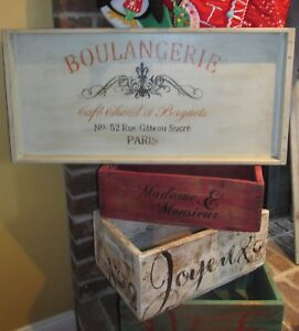 Primitive French Bakery Boulangerie Advertising Sign Kitchen Wall Decor Beigents