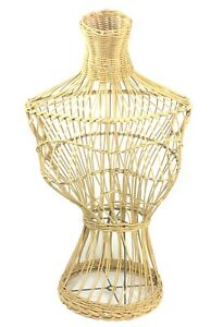 Vintage Wicker Mannequin Women s Dress Body Form Lampshade Freestanding 26