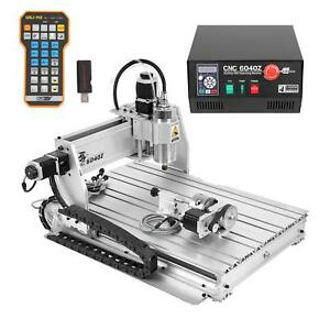 4 Axis Cnc 6040z 1500w Spindle Router Engraver Cutting Milling Carving Machine