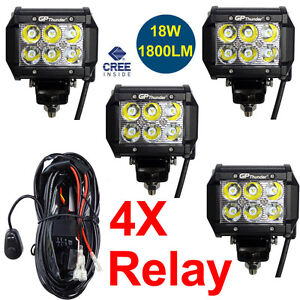 4pcs 4 Inch Off Road 18w Cree Led Fog Lamp Work Light Bar Suv Jeep 4wd Drl relay