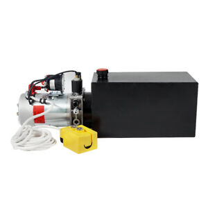 10 Quart Dc 12v Single Acting Tank Hydraulic Pump Pack Pump Trailer Car Lifting