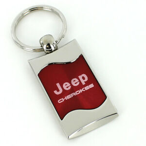 Jeep Cherokee Red Spun Brushed Metal Key Ring