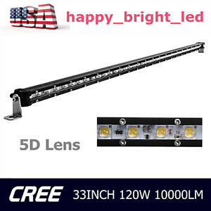 33inch Cree Led Bar Light 120w Single Row Slim 5d Lens Offroad Truck Driving Ute