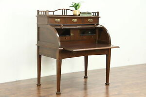 Oak Cylinder Rolltop Antique German 1900 Desk