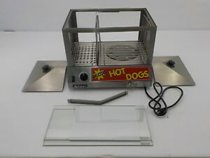 Adcraft Hds 1200w Side by side Hot Dog Bun Steamer 18 25 X 14 5 X 15