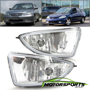For 2004 2005 Honda Civic 2dr 4dr Coupe Sedan Clear Fog Lights W Switch Harness