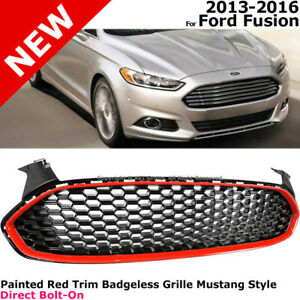 Mustang Style Front Grille For Ford Fusion 2013 2016 Honeycomb Red Hexagon