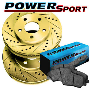 Fit 2010 Subaru Forester Rear Gold Drill Slot Brake Rotors Semi met Brake Pads