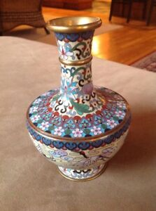 Vintage Asian Chinese Cloisonn Enamel Multi Color Vase Crane Stork Bird Flowers