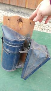 Vintage Bee Keepers Smoker Beehive Smoker Puffer On A Wooden Board