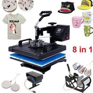 New 8 In 1 Heat Press Machine Transfer Sublimation Diy T shirt Hat Porcelain Cup