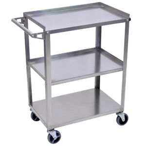 Luxor Ssc 3 35 inch 3 shelf Stainless Steel Multi purpose Mobile Rolling Cart