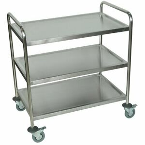 Luxor St 3 37 inch 3 shelf Stainless Steel Multi purpose Mobile Rolling Cart