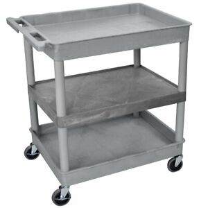 Luxor Tc121 g 3 shelf Gray Large Tub flat Mobile Multi purpose Utility Cart