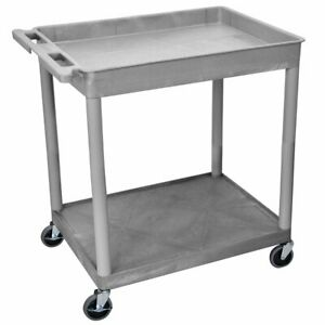 Luxor Tc12 g 2 shelf Gray Large Tub flat Multi purpose Rolling Utility Cart