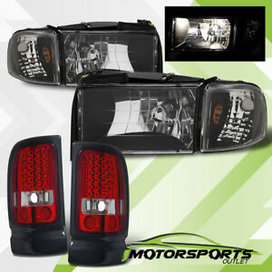 1994 2001 Dodge Ram 1500 2500 3500 Black Headlights With Led Tail Lights