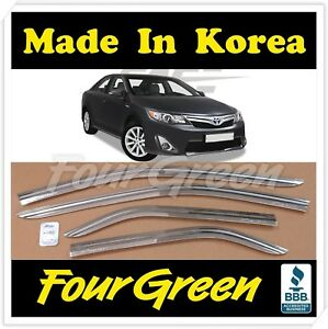 New Chrome Side Window Vent Visors Rain Guards For Toyota Camry 2012 2014