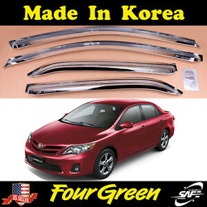 Chrome Window Sun Visor Vent Wind Rain Guard 4pcs For Toyota Corolla 2007 2013