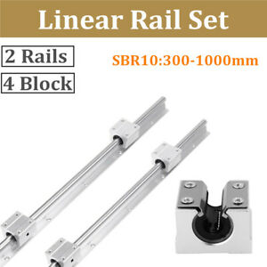 2pcs Sbr10 300 1000mm Linear Rail Shaft Rod 4x Sbr10uu Bearing Block For Cnc