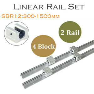 2pcs Sbr12 L300 1500mm Linear Rail Shaft Rod 4pcs Sbr12uu Block For Cnc