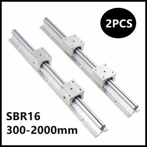 2pcs Sbr16 300 2000mm Linear Slide Rail Guide With 4 Sbr16uu Bearing Block