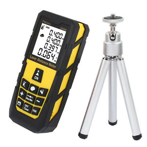 196ft Digital Laser Distance Meter Range Finder Measure Tape Tool With Tripod