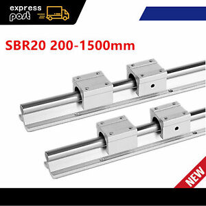 2x Sbr20 200 1500mm Linear Rail Fully Supported Shaft Rod With 4x Sbr20uu Block