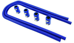 44 Blue Stainless Flexible Heater Hose Kit W Billet Clamp Covers Sbc Bbc Sbf