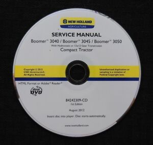 Genuine New Holland Boomer 3040 3045 3050 Tractor Repair Manual Set On Cd Dvd