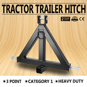 Heavy Duty 3point 2 Receiver Trailer Hitch Category 1 Tractor Tow Drawbar Hook