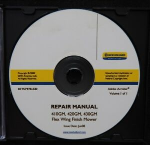 New Holland 410gm 420gm 430gm Flex Wing Finish Mower Service Repair Manual On Cd