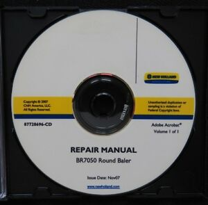 Genuine New Holland Br7050 Baler Service Repair Manual Set On Cd