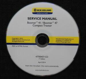 Genuine New Holland Boomer 41 47 Compact Tractor Repair Manual Full Set On Cd