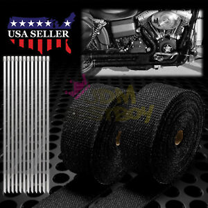 2 Roll X 2 50ft Black Exhaust Thermal Wrap Manifold Header Isolation Heat Tape