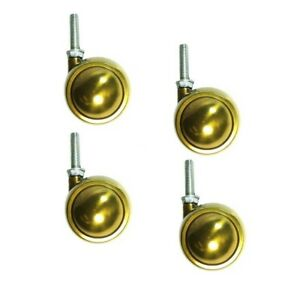 Set Of 4 Brass Planet Swivel Ball Casters 2 1 2 W 3 8 16 X 1 1 2 Threaded
