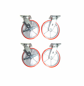 Four Durable Swivel Plate Casters With Red 8x2 Wheels Two Brakes
