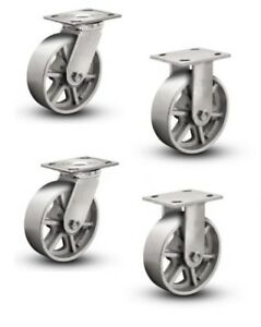 Set Of 4 Plate Casters With 8 Cast Iron Spoked Wheels 2 Rigid And 2 Swivel