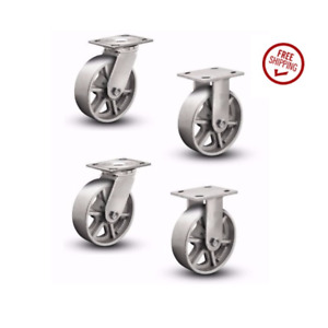 Set Of 4 Plate Casters With Cast Iron 8 Spoked Wheels 2 Rigid And 2 Swivel