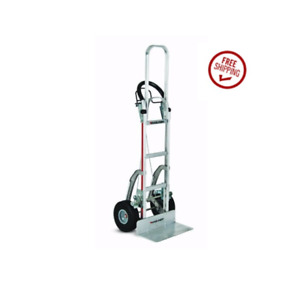 Aluminum Hand Truck 60 Tall With 10 Flat Free Tire And Brake W Stair Glides