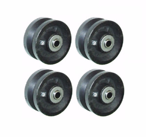 Set Of Four V groove 4 X 2 Iron Wheels With Roller Bearings And Spanners