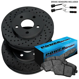 Fit Mercedes Benz Ml500 Ml350 Front Black Drilled Brake Rotors Ceramic Pads